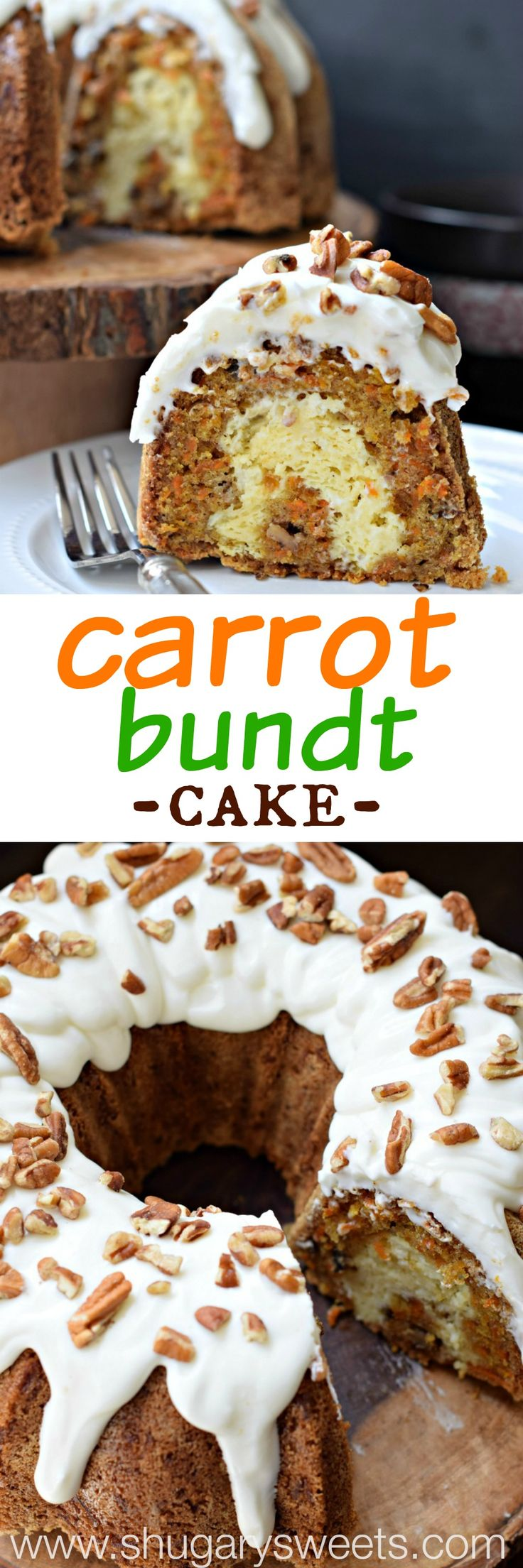 Carrot Bundt Cake with a ribbon of cheesecake swirl and Cream Cheese frosting! Topped with some chopped pecans! #thinkfisher: