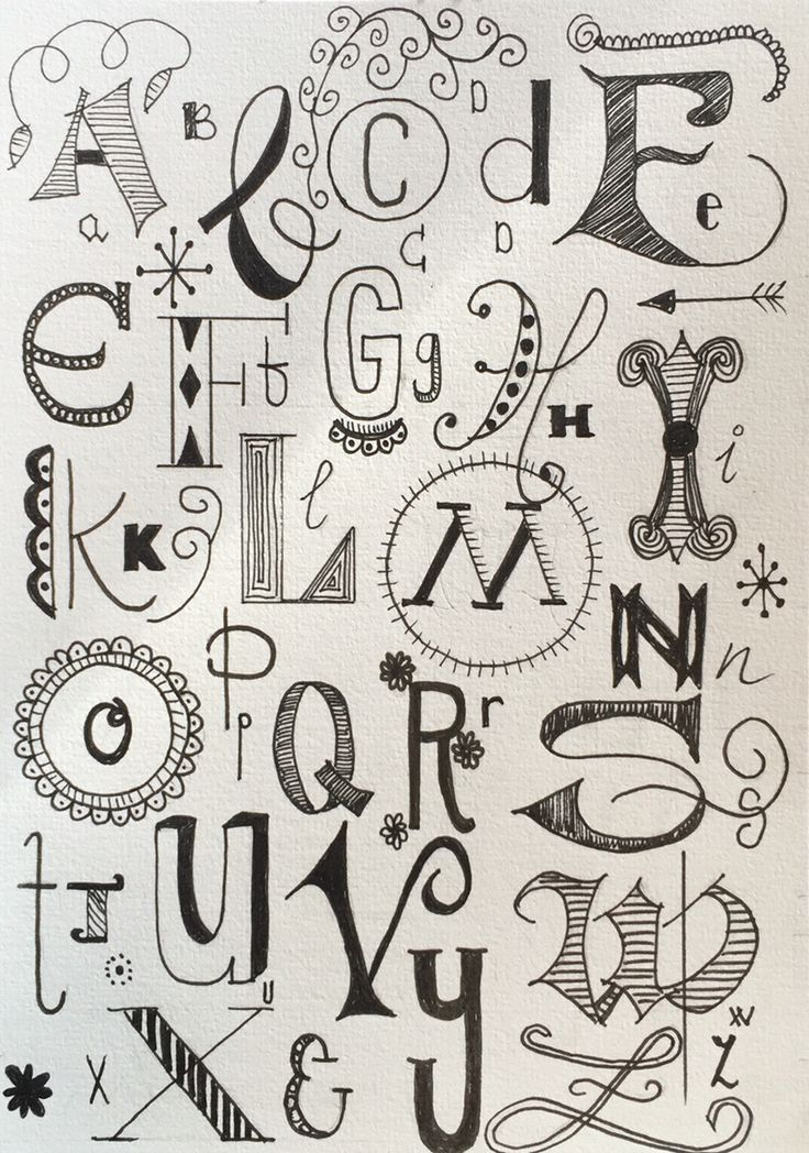 Handlettering. Alphabet. Calligraphy. My own work.    Handletteren alfabet. Micron Pigma.