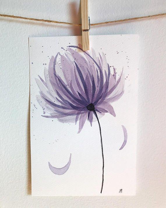 Illustration aquarelle originale fait à la main fleur violet