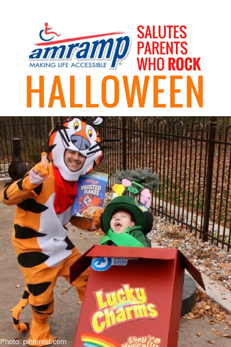 Amramp Wheelchair Costume - Tony from Frosted Flakes and Lucky of Lucky Charms make an awesome creative parent-child pair for Halloween!