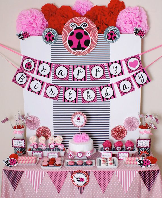 Pink LadyBug Birthday Party   want to make pennant banner for tables.
