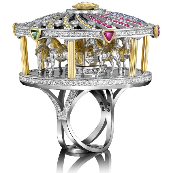 Merry Go Round Ring at Sybarite Jewellery London, Dancing Doll Ring, Merry Go Round Ring, Royal Family Jewellery Collection