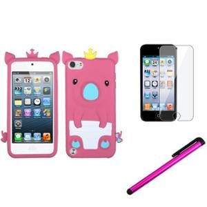 INSTEN Hot Pink Pig Piggy Silicone Rubber Case+Protector+Pen For iPod Touch 5 5th 5G