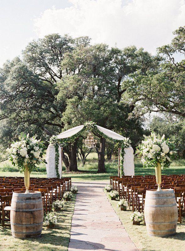 Outdoor Wedding Ceremony Decor White Fabric Greenery Ceremony
