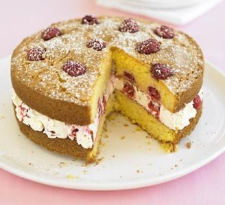 Raspberry & lemon polenta cake