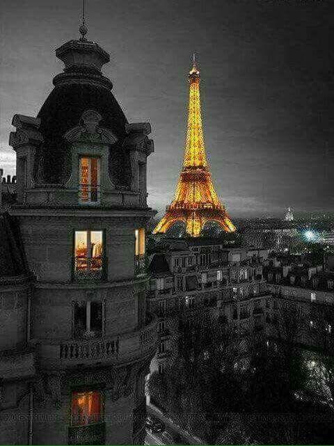 Tour Eiffel la nuit, beaux immeubles du 7e arrondissement