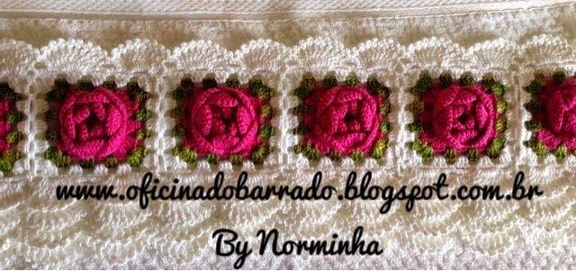 Olá crocheteiras no plantão!  Hoje trouxe um barrado lindo e muito fácil de fazer o pap é da talentosa Norma Rosas :         aqui a rosinha ...