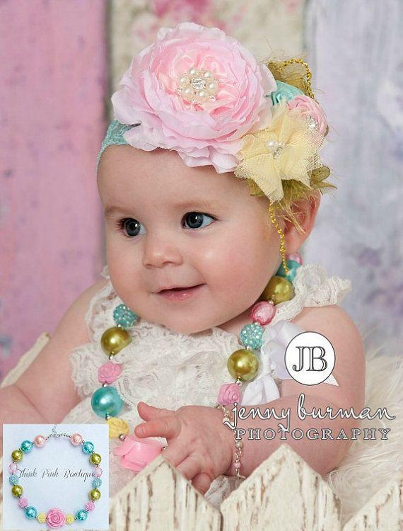 Girls Chunky Necklace and Baby Headband SET,Baby Headbands, Flower girls headband. Bubblegum necklace, Baby girls 1st birthday set., on Etsy, $10.95