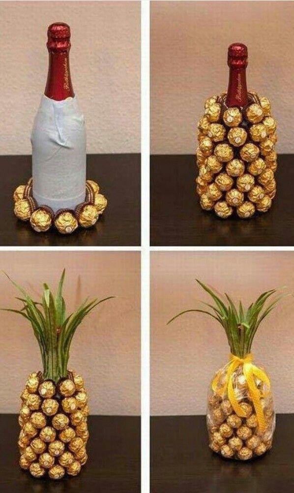 Wine bottle pineapple gift