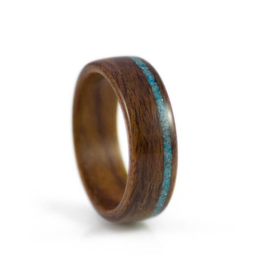 Wood Ring In Rosewood With Turquoise Inlay  Rosewood wedding