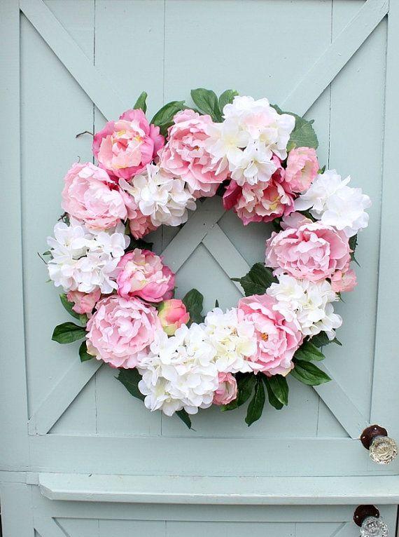 Spring Wreath  Front Door Wreath  Pink Peonies  by DaisyMaeBelle