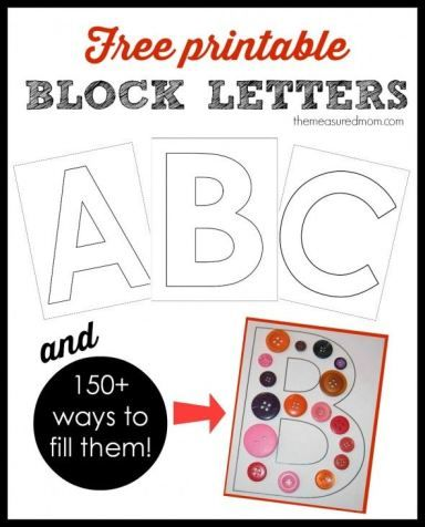 A-Z printable block letters! Plus 150 ideas for ways to fill them
