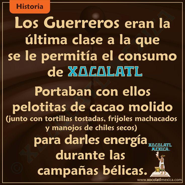 Los Guerreros eran la última clase que se le permitían el consumo de chocolate.  Portaban con ellos pelotitas de cacao molido (junto con tortillas tostadas, frijoles machacados y manojos de chiles secos) para darle energía durante las campañas bélicas.