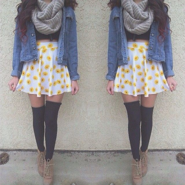 scarf, sunflower skirt, thigh highs, and booties // hipster outfit