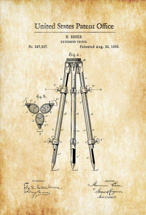 Patente de trípode de cámara 1886 imprimir por PatentsAsPrints