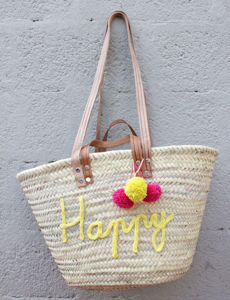 L'atelier Des Petites Bauloises: Panier de plage Happy