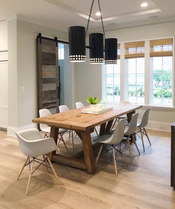 Modern Classic And Rustic Design Elements All Rolled Into One Perfect Dining Room Hanleydevelopment Barn DoorsRustic