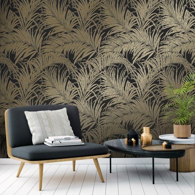 Sapphire Palm Leaf Wallpaper Black Bronze Palm Leaf Wallpaper Leaf Wallpaper Interior Wallpaper