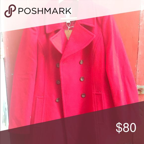 Red pea coat Brand new, never worn, tags still on. Red wool pea coat, fitted with a little stretch to the material. Incredibly comfortable Bass Jackets & Coats Pea Coats
