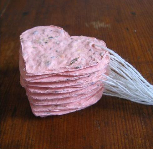 Seed paper Hearts...easy to do...use seasonal cookie cutter, blender, old paper ,seeds..  Makes great gifts... give to your gardening friends to plant...