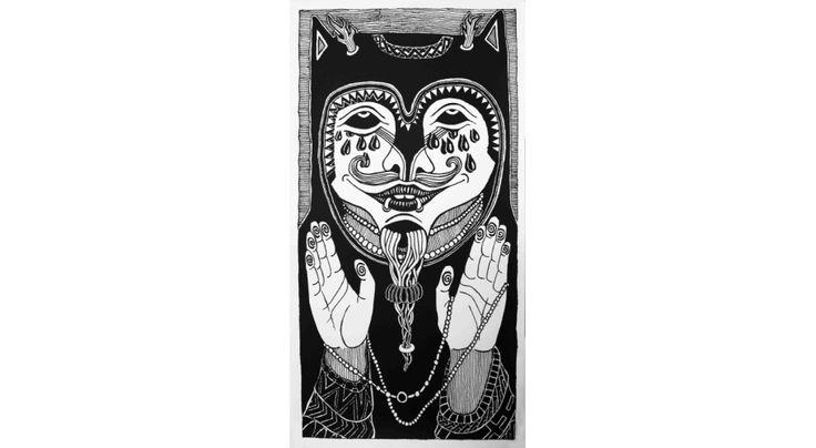 Szaman, sitodruk - czerń i biel, 703 mm x 366 mm, 2013 r., pieczęć drukarni z galerii V9 z podpisem autora, rokiem i ilością nakładu, cena: 250 zł