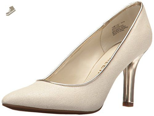 Anne Klein Women's Falicia Fabric Dress Pump, Light Natural-Silver/Silver,  6 M US