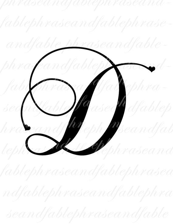 Letter D Hearts 275 Digital Download Alphabet by phraseandfable
