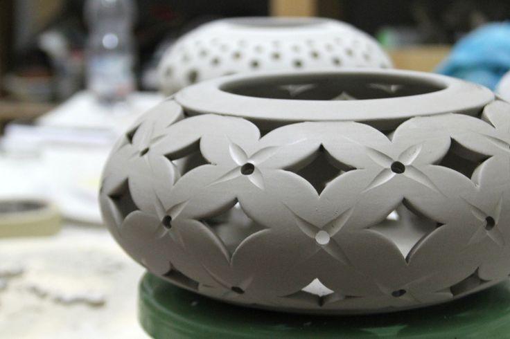 Portacandele in ceramica bianca PERSONALIZZABILE : Lampade di claylab