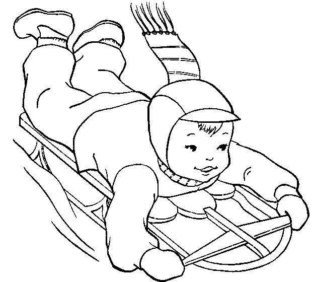 Sledding coloring pages and pictures