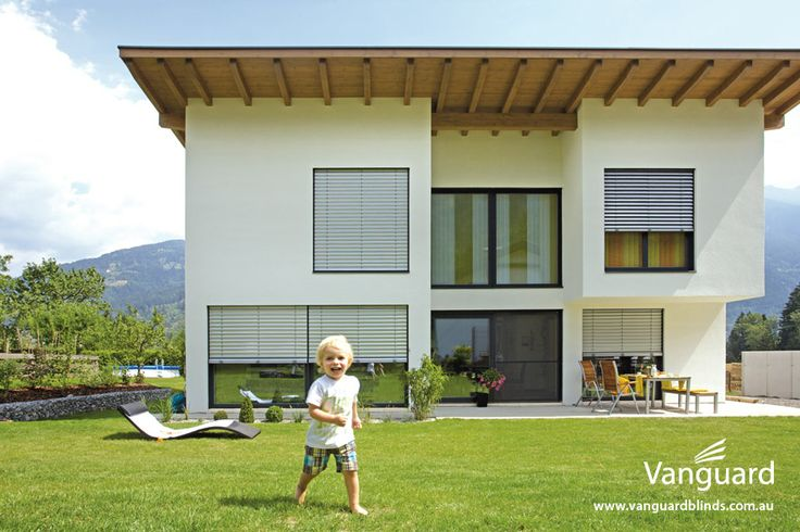 Hella External Venetian Blinds. Provide ultimate sun protection and privacy control. These advanced external blinds can be tilted, opened, closed or raised for interrupted views.