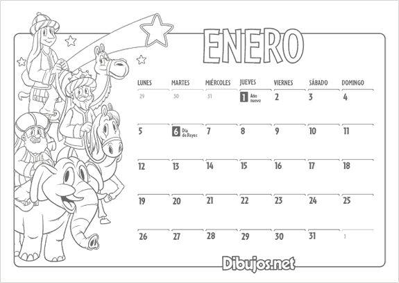 Calendario infantil 2015 para colorear Enero