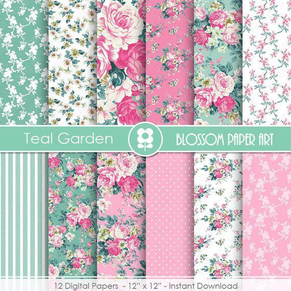 Papeles Decorativos Flores Rosa Turquesa Floreas  Papel