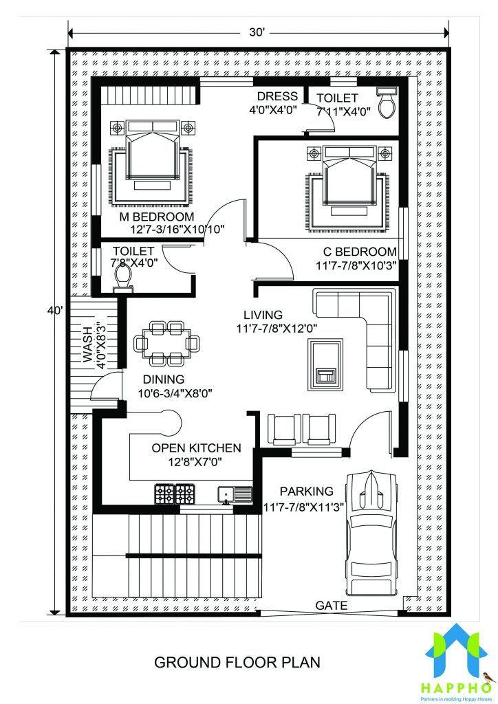 Floor Plan For 30 X 40 Feet Plot 2 Bhk 1200 Square Feet 133 Sq In 2020 30x40 House Plans Indian House Plans 20x30 House Plans