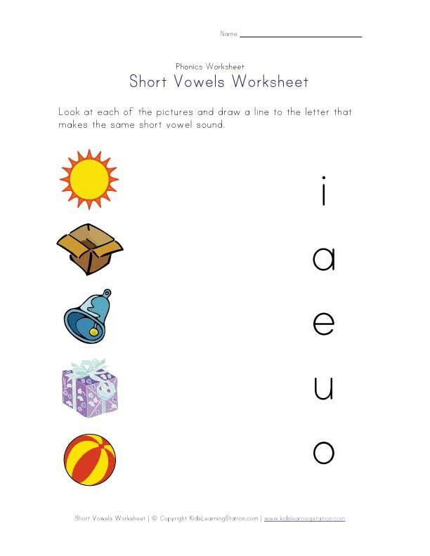 short vowel matching worksheet literacy pinterest. Black Bedroom Furniture Sets. Home Design Ideas