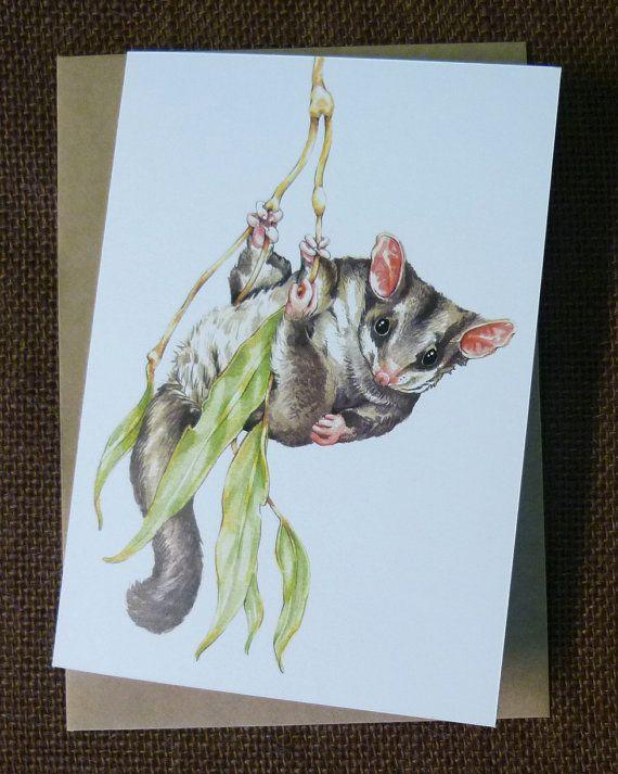 Australian Sugar Glider blank greeting card from by TreeTomato