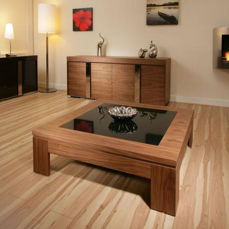 Large Square Coffee Table Walnut With Black Glass Living Room