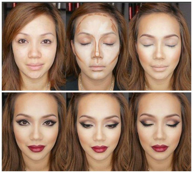 Chica contorneando su cara con maquillaje