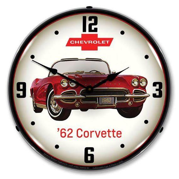 Antique Style 62 Corvette Backlit Clock 129 99 Corvette Clock Wall Clock Light 1962 Corvette