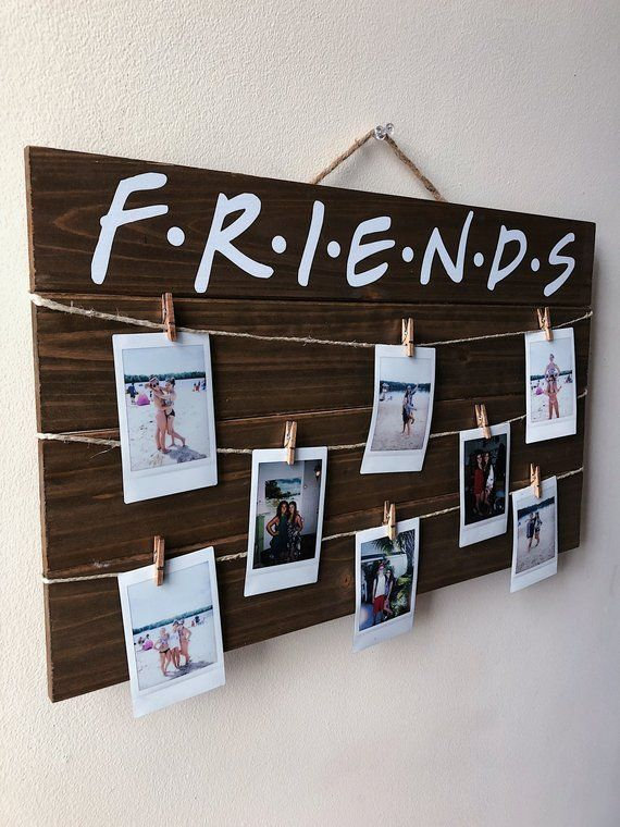 Friends tv show wood polaroid sign / 17 x 10.5 wood polaroid display with clips / gift for friends / instax mini