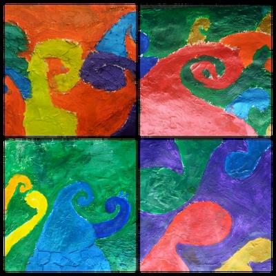 The Whiteboard Witch - textured koru artworks of whānau.