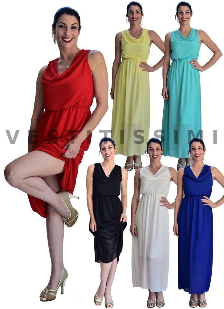 Vestito donna lungo elegante abito cerimonia tubino vestitino damigella sexy Vs7