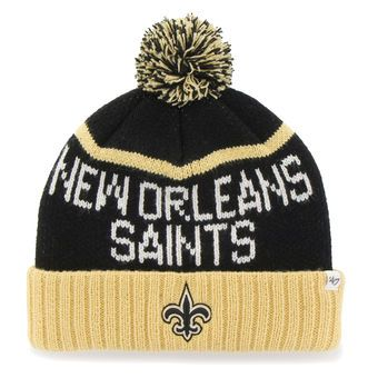 Men's New Orleans Saints '47 Black/Gold Linesman Cuffed Knit Hat with Pom
