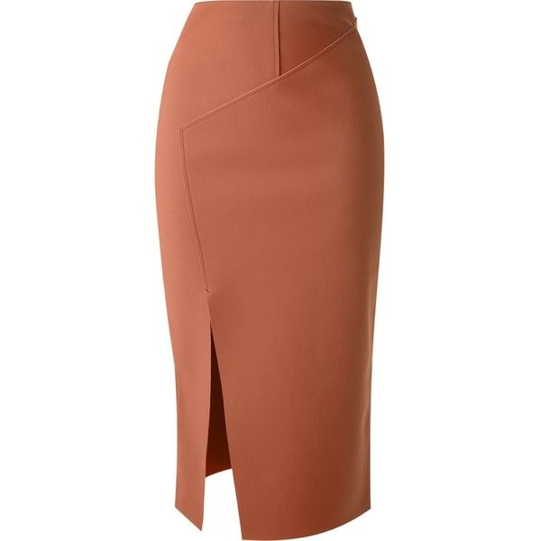 Scanlan Theodore 'Double Scuba' pencil skirt ($405) ❤ liked on Polyvore featuring skirts, brown, pencil skirt, brown pencil skirt, brown skirt and knee length pencil skirt