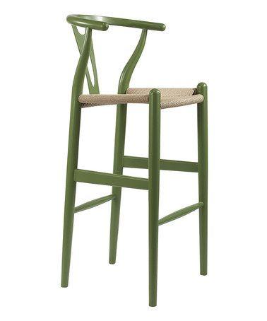 This Green Mid-Century Modern Wishbone Stool by Baxton Studio is perfect! #zulilyfinds