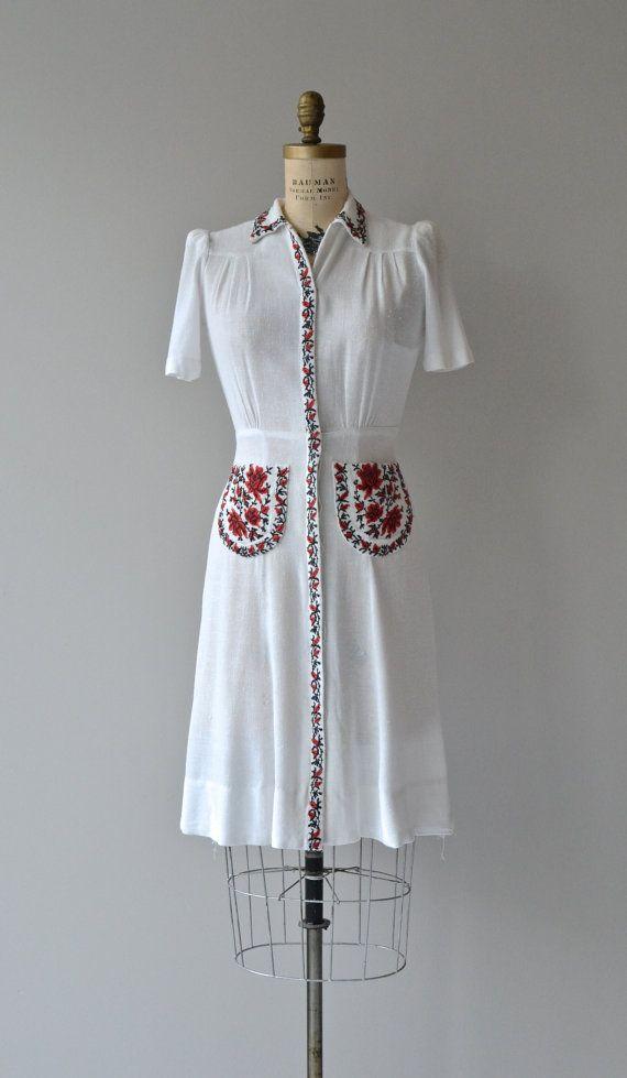 Volgye dress vintage 1940s dress white folk by DearGolden
