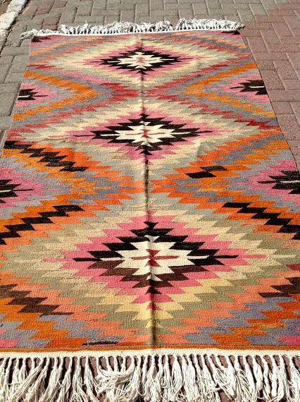 "VINTAGE Turkish Kilim Rug Carpet, Handwoven Kilim Rug, Antique Kilim Rug,Decorative Kilim, Natural Wool 79"" X ""50 by PergamonArt on Etsy"
