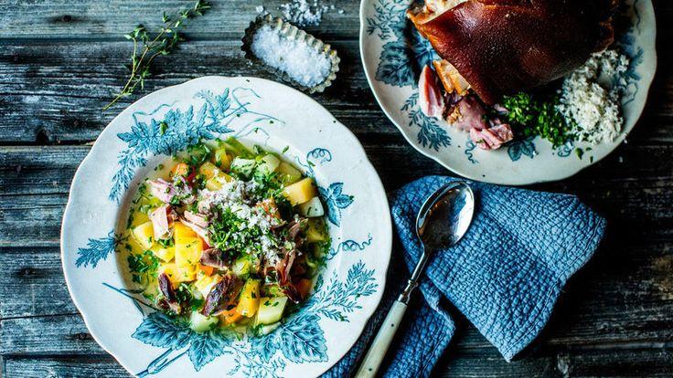 Grønnsakssuppe med knokekjøtt