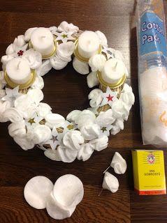 Adventi koszorú vattakorongból és joghurtos pohárból - Christmas wreath made from cotton pads and PE boxes