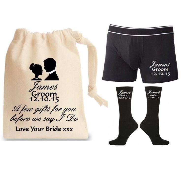 Personalised Groom Gift Set With Socks Underwear Cotton Bag