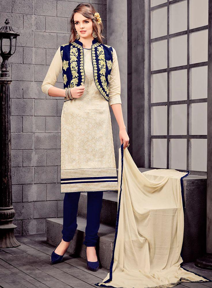 Beige Cotton Churidar Salwar Suit With Jacket 89026